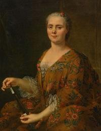 porträtt, dam med solfjäder by louis tocqué