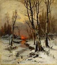 sunset in the forest in winter by yuliy yulevich (julius) klever
