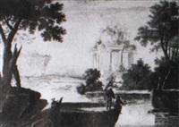 flußlandschaft mit klassizistischer ruine by carl sebastian von bemmel