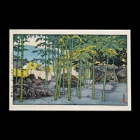 yodo river, half moon bridge, sangetsu-an, hiejinja, pagoda in kyoto, bamboo garden, plum tree and blue magpie, autumn in hakone museum (8 works) by toshi yoshida