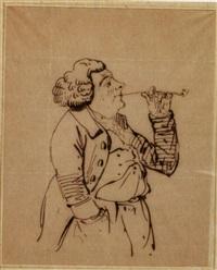 l'homme à la pipe - karikatur eines mannes mit pfeife by rodolphe töpffer