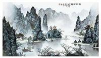 《漓江归渔》青绿山水 by xu huanwen