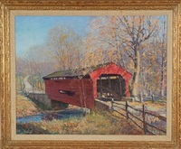 bartram bridge, covered bridge spanning crum creek between chester and delaware county by john r. peirce
