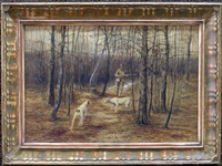 the autumn hunt (+snow scene, lrgr; 2 works) by edward r. sitzman