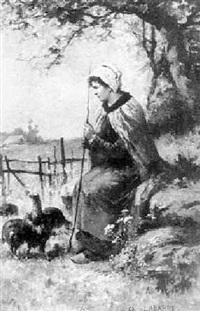 bauernmädchen mit truthähnen by charles labarre