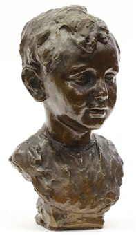 bust of a young boy by ralph w. stackpole