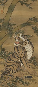 tiger and bamboo by shokatsukan