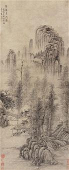 秋林高士图 (landscape) by ma wan