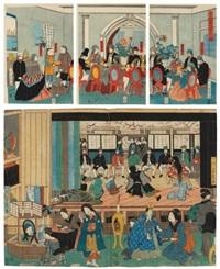 goka koku jin shuen no zu (oban tate-e triptych)(+ un spectacle est donné devant des étrangers (oban tate-e; 2 parts of a triptych); 2 works) by utagawa yoshikazu
