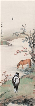 双马图 (two horses) by wang xuetao and ma jin