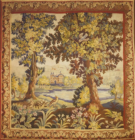 Landscape with birds, framed by two trees with a lake and castle in ...
