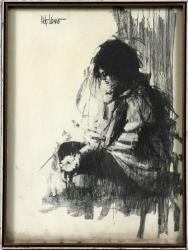 girl seated with flowers by aldo luongo
