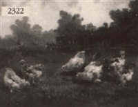 chickens in a field by le maire
