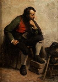 sitzender bärtiger mann neben hut und stock by gustave courbet