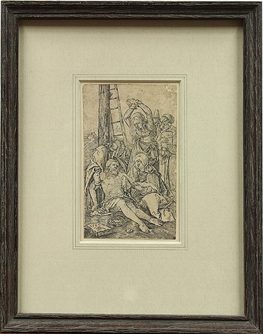 lamentation of christ descent from the cross from the engraved passion by albrecht dürer