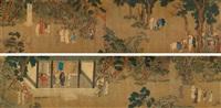 宴乐图 (character and landscape) by qian xuan