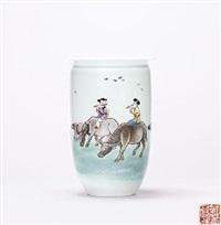 粉彩牧牛吹笛图瓶 by dai ronghua