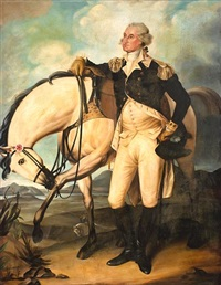 standing portrait of george washington with horse by john trumbull