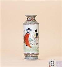 粉彩人物仕女瓶 by dai yumei