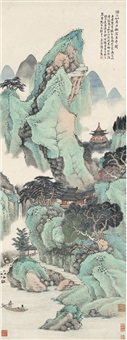 松阴古寺图 (ancient temple in forest) by xu rongxun