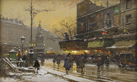 la place clichy paris by eugène galien laloue