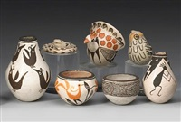 seven acoma miniature vessels (various sizes; 7 works) by lucy martin lewis