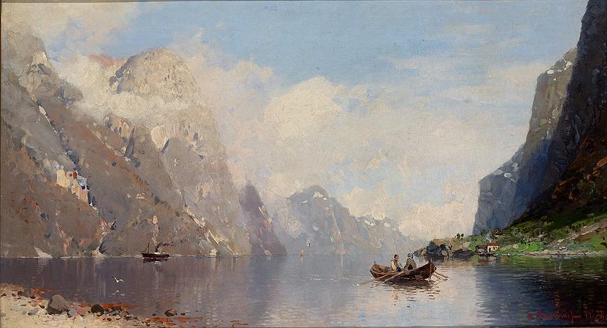 sommerliche fjordlandschaft mit übersetzendem ruderboot und angelandetem dampfer by georg anton rasmussen