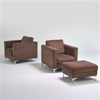 lounge chairs and ottoman (pair) by american leather inc.