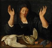 kvinna som sörjer en död duva, en rapphöna samt en kungsfiskare by jacques de gheyn ii
