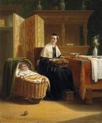 an der wiege. junge klöpplerin in der stube, ihren nachwuchs betrachtend by johannes christoffel vaarberg