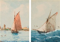 seestücke (3 works in 1 frame) by heinrich leitner