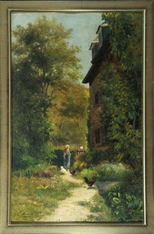 Haus Mit Zwei Personen Und Huhnern Im Hinterhof By Ernest