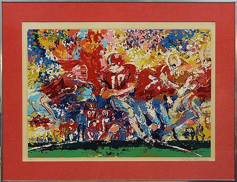 alabama and texas at the sugarbowl by leroy neiman