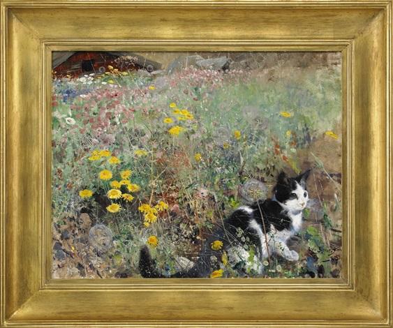 katt på blomsteräng by bruno liljefors