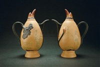lotus root teapot (pair) by fan zeng and jiang rong