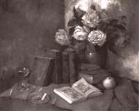stilleben mit rosenstrauß, b_chern und apfel by carl holger fischer