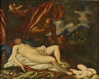 jupiter och antiope by titian (tiziano vecelli)