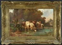 kühe an wasserstelle in baumlandschaft by louis (ludwig) reinhardt