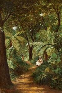 en moder med sine born i junglen by attilio baccani