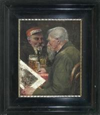 herrenstammtisch (zwei bärtige männer beim biertrinken) by franz obermüller