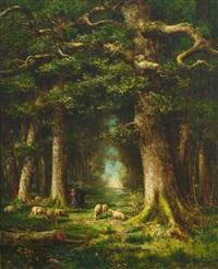 prachtvolle waldlandschaft mit weidenden schafen by charles félix edouard deshayes