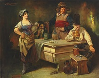 wirtshausszene mit personen im habit des 17. jahrhunderts by leonhard wilhelm lehmann