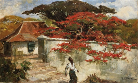 a man under a flamboyant tree by raden basoeki abdullah