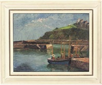the inner harbour with polkirt hill beyond, mevagissey, cornwall (+ fishing boats in the harbour, smllr; 2 works) by piero sansalvadore
