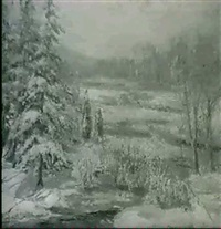 winter landscape by thomas herbert smith