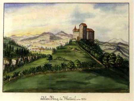 schloss yberg bei wattwil um 1820 burg yberg bei wattwil um 1830 pair by johann georg zähndler