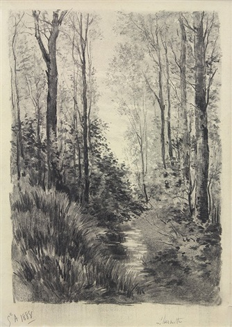 forest landscape des paysages forest ers by léon augustin lhermitte