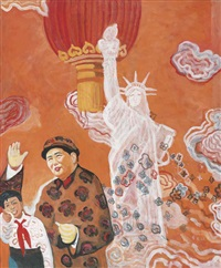 mao and the statue of liberty by yu youhan