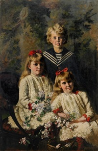 barnporträtt föreställande syskonen karin, brita och sven lagerberg by karin stackelberg