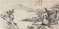 渔港幽居图 (dwelling by fish port) by luo mu (lo mou)